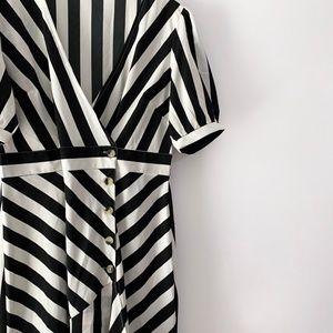Vintage Asymmetrical Striped Dress